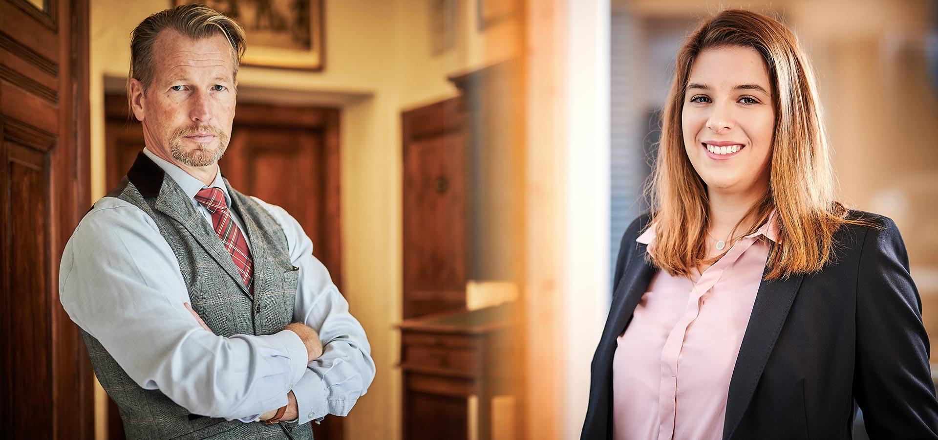 Rechtsanwalt Lippold Freiherr von Rössing und Rechtsanwältin Eva Sagmeister, Ihre Ansprechpartner beim Thema Arbeitsrecht